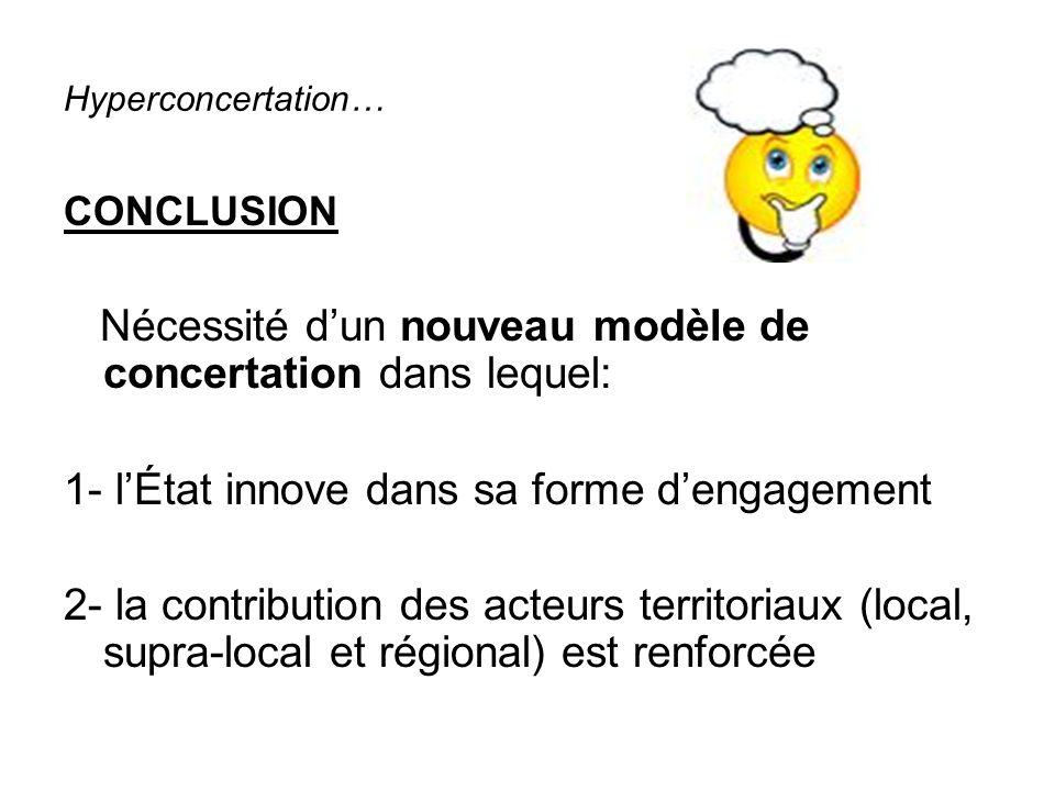 Hyperconcertation… CONCLUSION Nécessité dun nouveau modèle de concertation dans lequel: 1- lÉtat innove dans sa forme dengagement 2- la contribution des acteurs territoriaux (local, supra-local et régional) est renforcée