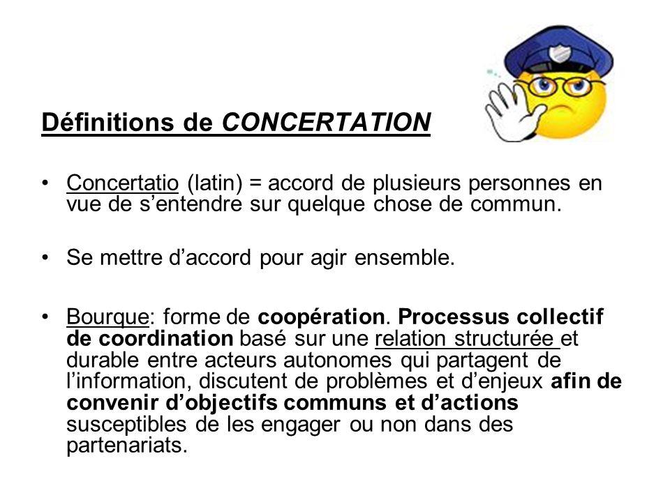 Définitions de CONCERTATION Concertatio (latin) = accord de plusieurs personnes en vue de sentendre sur quelque chose de commun.