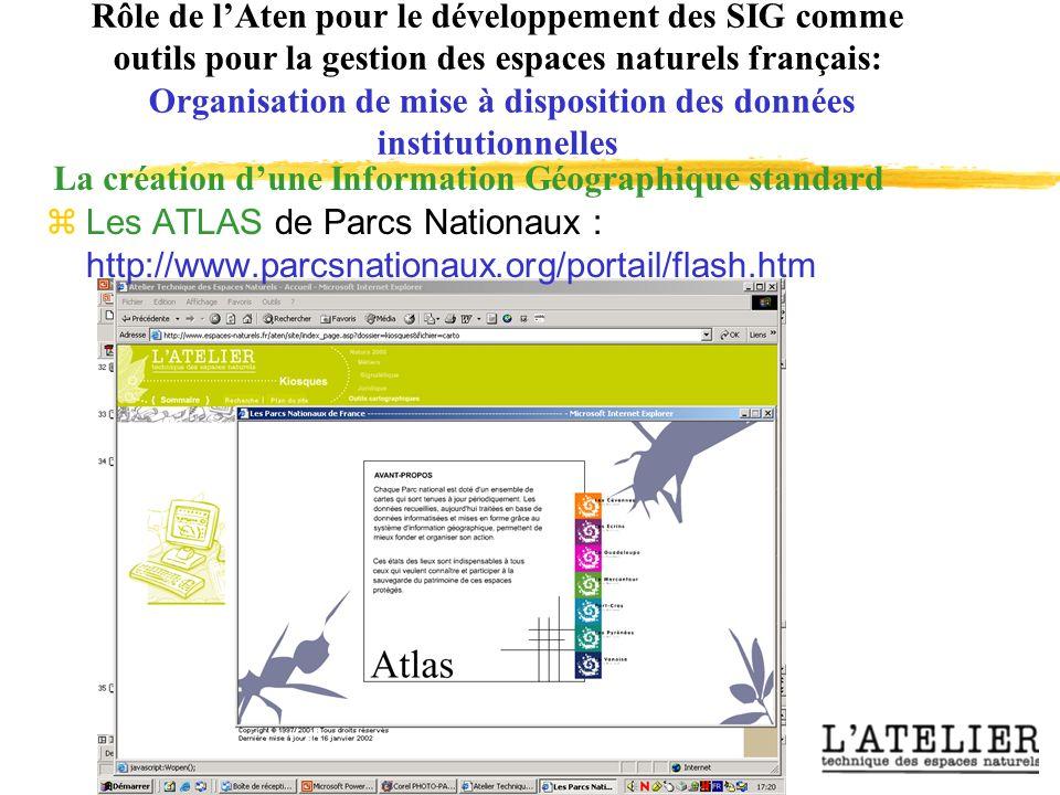 Rôle de lAten pour le développement des SIG comme outils pour la gestion des espaces naturels français: Organisation de mise à disposition des données institutionnelles La création dune Information Géographique standard zLes ATLAS de Parcs Nationaux : http://www.parcsnationaux.org/portail/flash.htm