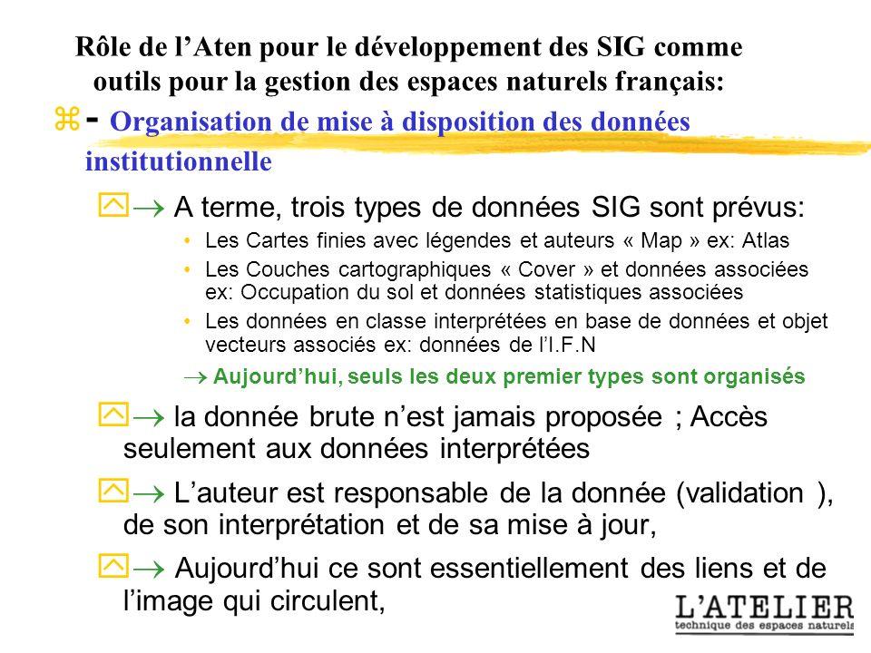 Rôle de lAten pour le développement des SIG comme outils pour la gestion des espaces naturels français: - Organisation de mise à disposition des donné