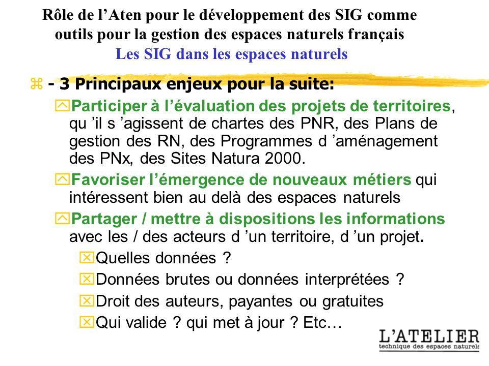 Rôle de lAten pour le développement des SIG comme outils pour la gestion des espaces naturels français Les SIG dans les espaces naturels - 3 Principaux enjeux pour la suite: yParticiper à lévaluation des projets de territoires, qu il s agissent de chartes des PNR, des Plans de gestion des RN, des Programmes d aménagement des PNx, des Sites Natura 2000.