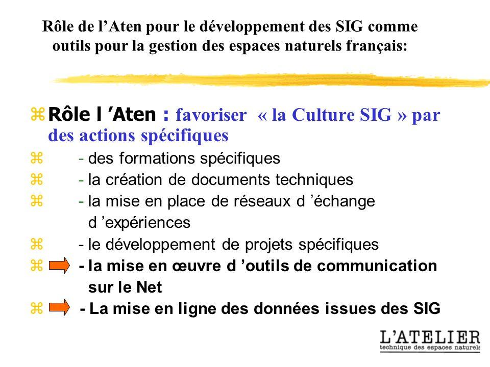 Rôle de lAten pour le développement des SIG comme outils pour la gestion des espaces naturels français: Rôle l Aten : favoriser « la Culture SIG » par