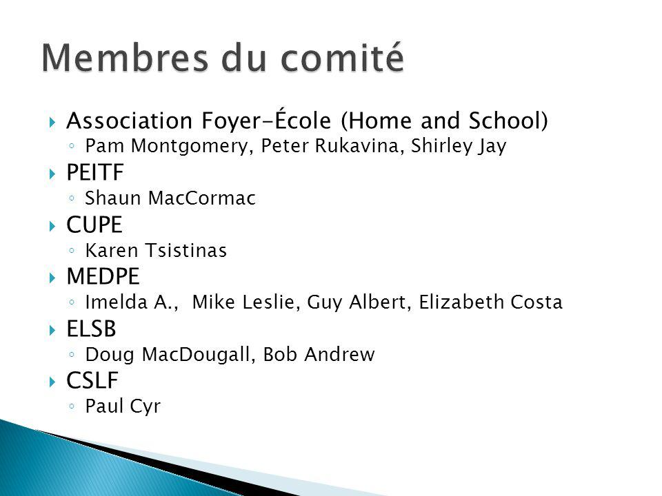 Association Foyer-École (Home and School) Pam Montgomery, Peter Rukavina, Shirley Jay PEITF Shaun MacCormac CUPE Karen Tsistinas MEDPE Imelda A., Mike Leslie, Guy Albert, Elizabeth Costa ELSB Doug MacDougall, Bob Andrew CSLF Paul Cyr