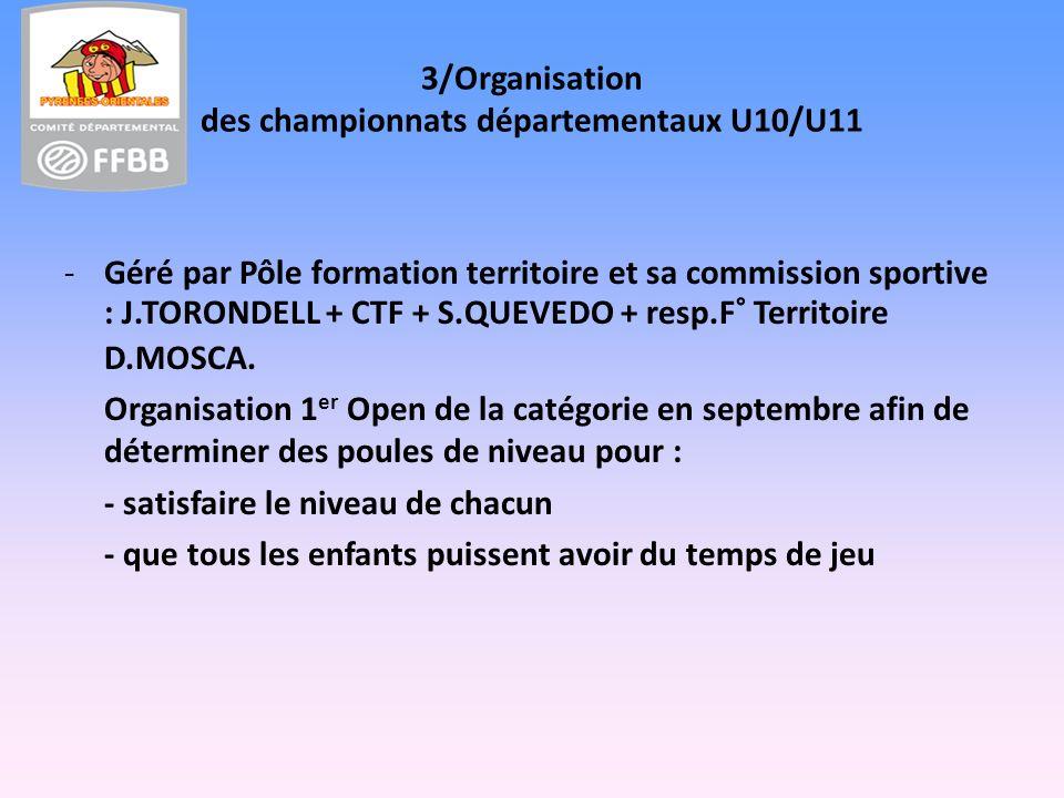 3/Organisation des championnats départementaux U10/U11 -Géré par Pôle formation territoire et sa commission sportive : J.TORONDELL + CTF + S.QUEVEDO + resp.F° Territoire D.MOSCA.