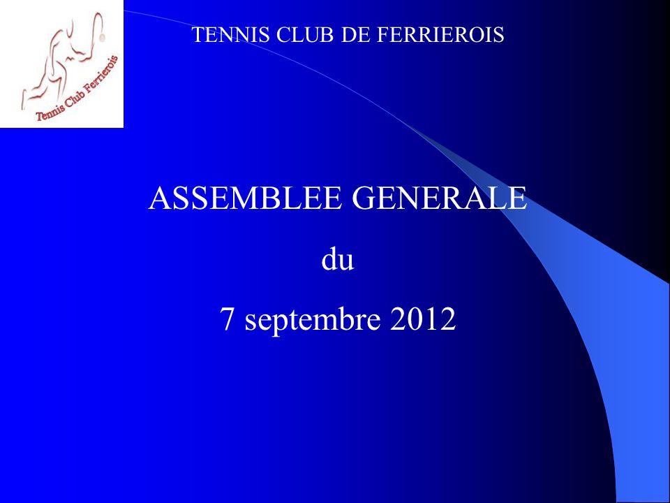 TENNIS CLUB DE FERRIEROIS ORDRE DU JOUR Rapport MORAL Rapport SPORTIF Rapport FINANCIER Perspectives saison 2012-2013