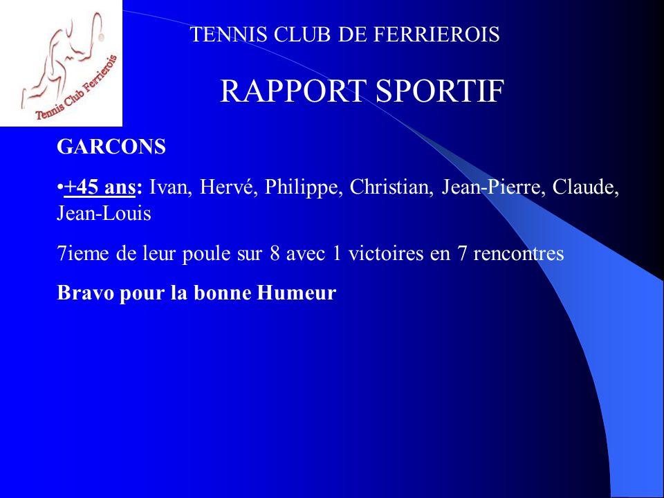 TENNIS CLUB DE FERRIEROIS RAPPORT SPORTIF 2 équipes séniors engagées au championnat dété