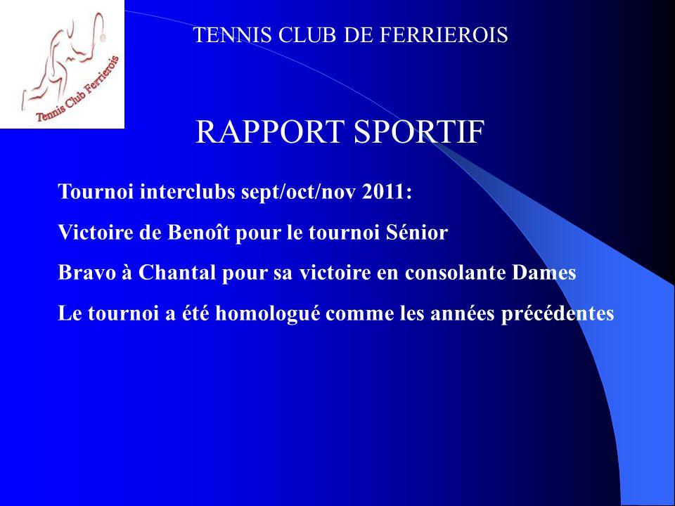TENNIS CLUB DE FERRIEROIS RAPPORT FINANCIER