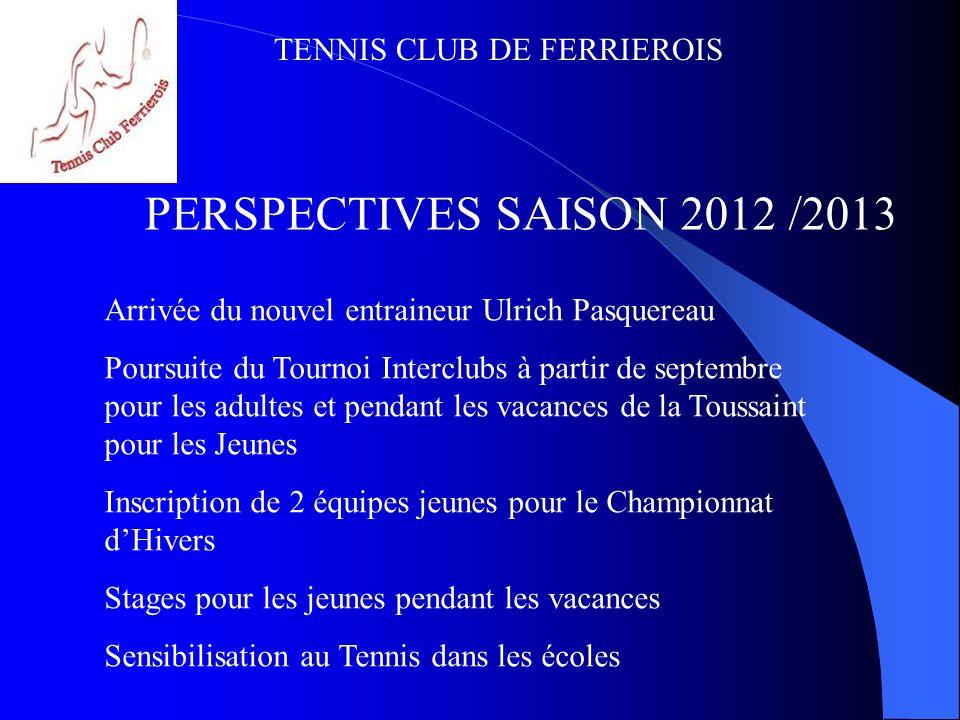 TENNIS CLUB DE FERRIEROIS PERSPECTIVES SAISON 2012 /2013 Commande de Polos aux Couleurs du Club Recherche de nouveaux partenaires financiers 1 er Loto du Tennis le 27 avril 2012