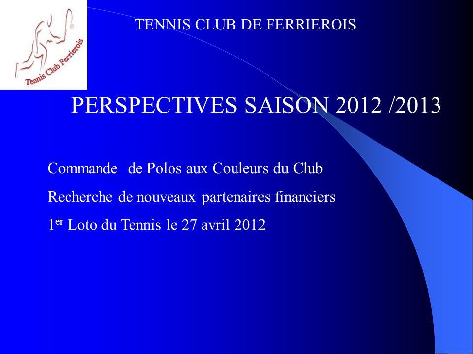 TENNIS CLUB DE FERRIEROIS PERSPECTIVES SAISON 2012 /2013 Commande de Polos aux Couleurs du Club Recherche de nouveaux partenaires financiers 1 er Loto
