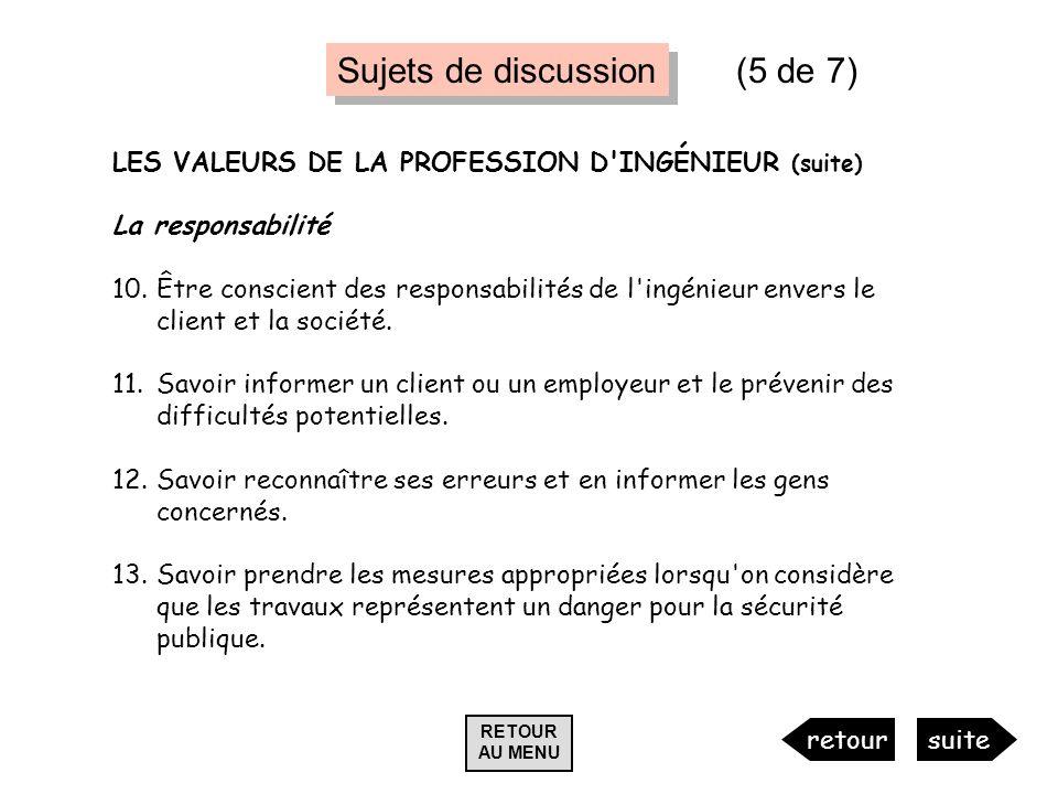 LES VALEURS DE LA PROFESSION D'INGÉNIEUR (suite) La responsabilité 10.Être conscient des responsabilités de l'ingénieur envers le client et la société
