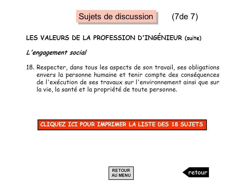 LES VALEURS DE LA PROFESSION D'INGÉNIEUR (suite) L'engagement social 18.Respecter, dans tous les aspects de son travail, ses obligations envers la per