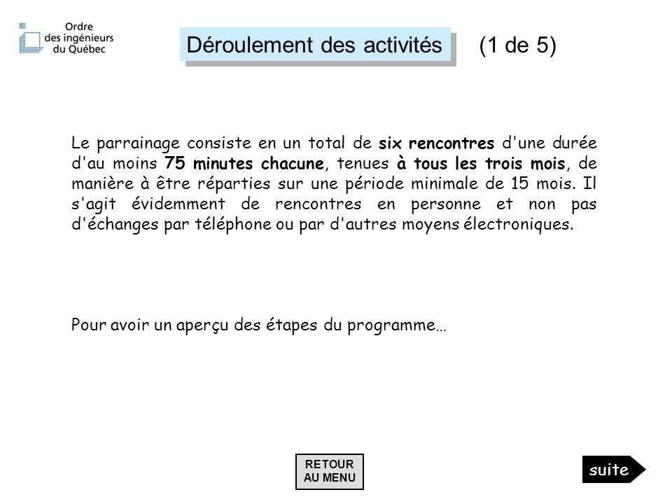 Déroulement des activités Le parrainage consiste en un total de six rencontres d'une durée d'au moins 75 minutes chacune, tenues à tous les trois mois