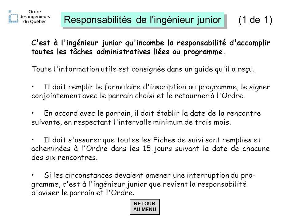 Responsabilités de l'ingénieur junior C'est à l'ingénieur junior qu'incombe la responsabilité d'accomplir toutes les tâches administratives liées au p