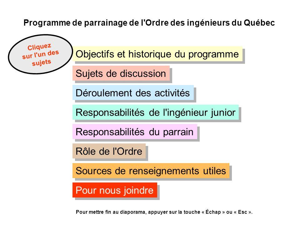 Programme de parrainage de l'Ordre des ingénieurs du Québec Objectifs et historique du programme Cliquez sur l'un des sujets Déroulement des activités