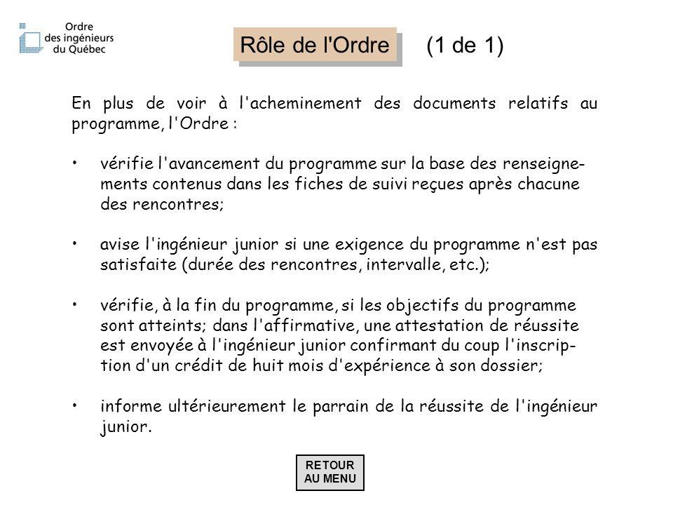 Rôle de l'Ordre En plus de voir à l'acheminement des documents relatifs au programme, l'Ordre : vérifie l'avancement du programme sur la base des rens