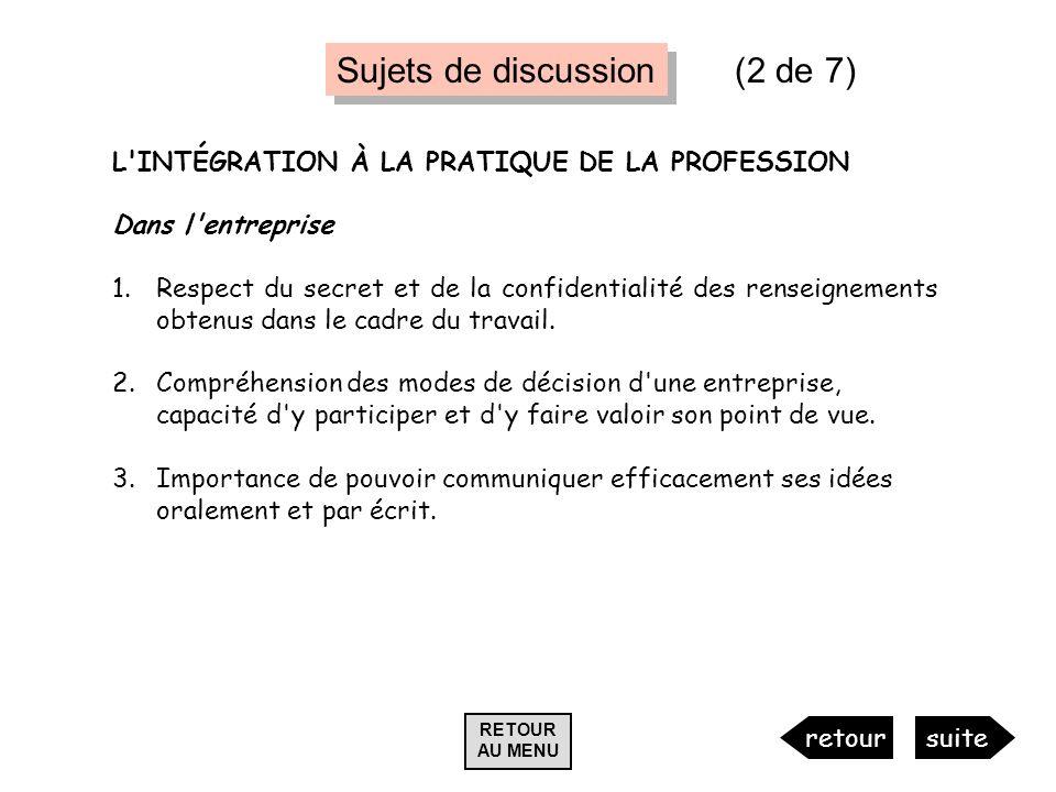 L'INTÉGRATION À LA PRATIQUE DE LA PROFESSION Dans l'entreprise 1.Respect du secret et de la confidentialité des renseignements obtenus dans le cadre d