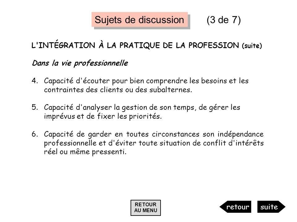 L'INTÉGRATION À LA PRATIQUE DE LA PROFESSION (suite) Dans la vie professionnelle 4.Capacité d'écouter pour bien comprendre les besoins et les contrain