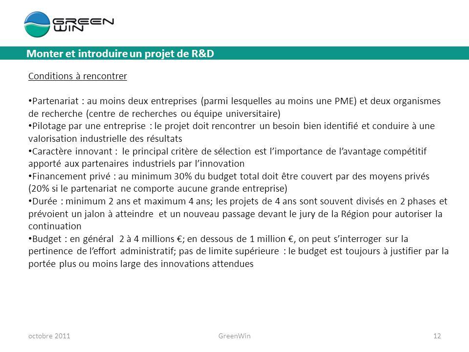 Monter et introduire un projet de R&D octobre 2011GreenWin12 Conditions à rencontrer Partenariat : au moins deux entreprises (parmi lesquelles au moin