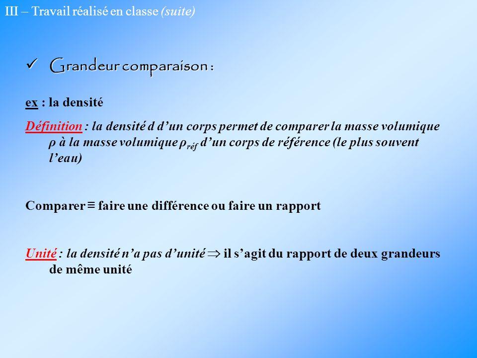 III – Travail réalisé en classe (suite) Grandeur comparaison : Grandeur comparaison : ex : la densité Définition : la densité d dun corps permet de co