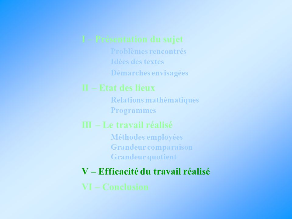 I – Présentation du sujet Problèmes rencontrés Idées des textes Démarches envisagées II – Etat des lieux Relations mathématiques Programmes III – Le t