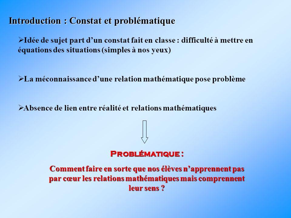Introduction : Constat et problématique Idée de sujet part dun constat fait en classe : difficulté à mettre en équations des situations (simples à nos