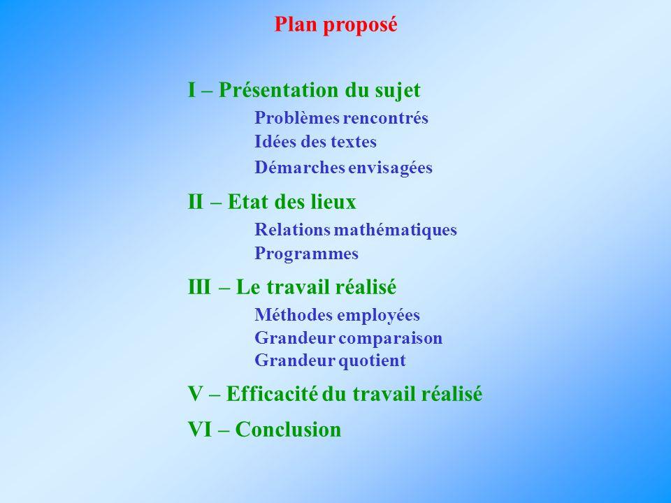 Plan proposé I – Présentation du sujet Problèmes rencontrés Idées des textes Démarches envisagées II – Etat des lieux Relations mathématiques Programm