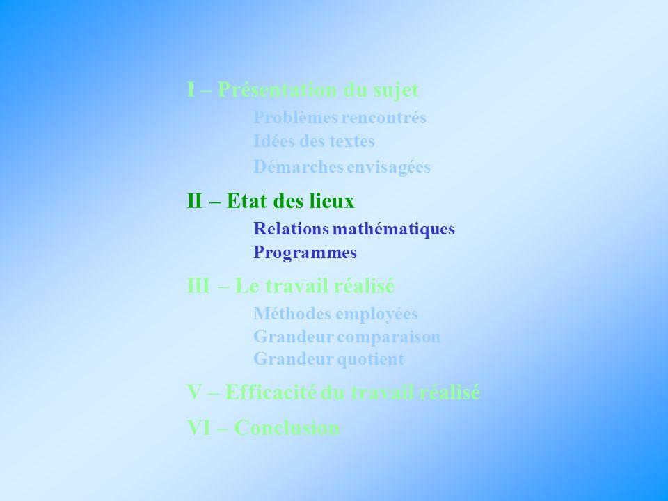 II – Etat des lieux Relations mathématiques : Relations mathématiques : - Grandeur comparaison : deux grandeurs avec la même unité - Grandeur quotient : aucune grandeur avec la même unité Programmes : Programmes : Tout a été vu dans les classes précédentes