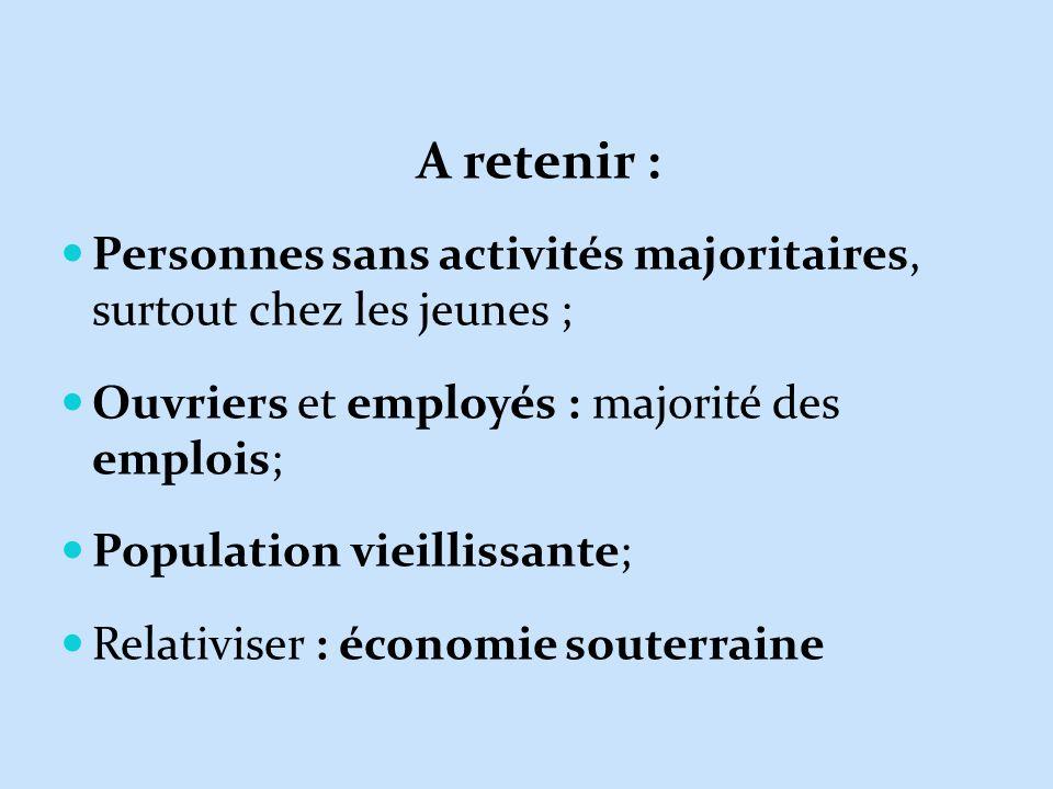 A retenir : Personnes sans activités majoritaires, surtout chez les jeunes ; Ouvriers et employés : majorité des emplois; Population vieillissante; Re