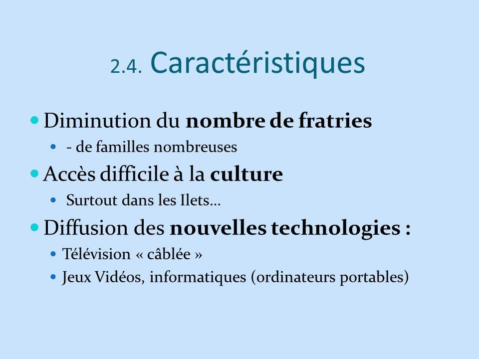 2.4. Caractéristiques Diminution du nombre de fratries - de familles nombreuses Accès difficile à la culture Surtout dans les Ilets… Diffusion des nou