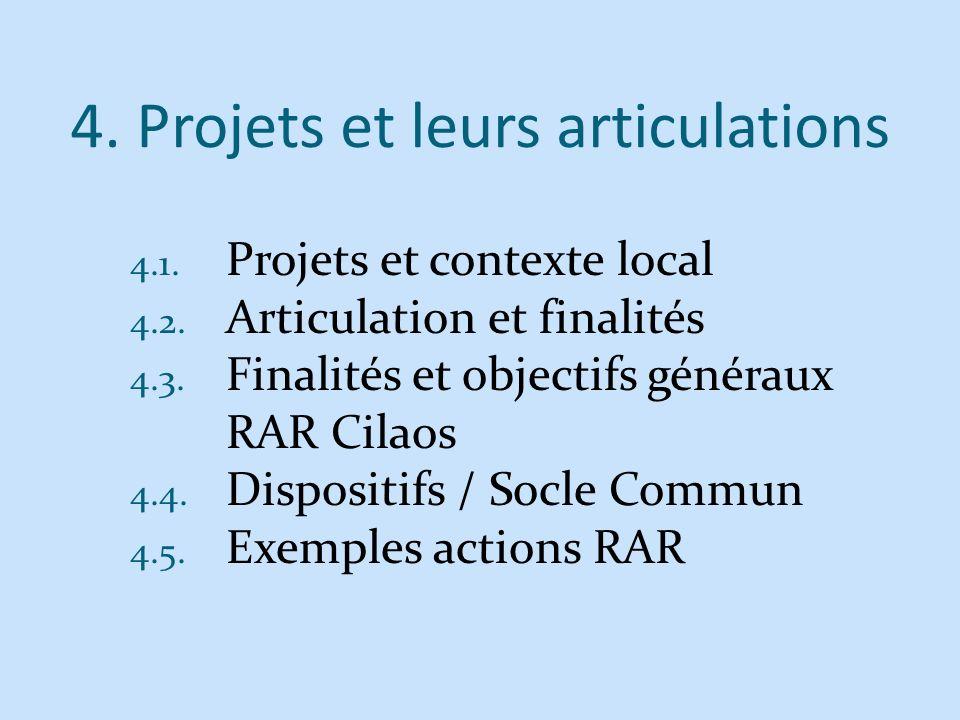 4. Projets et leurs articulations 4.1. Projets et contexte local 4.2. Articulation et finalités 4.3. Finalités et objectifs généraux RAR Cilaos 4.4. D