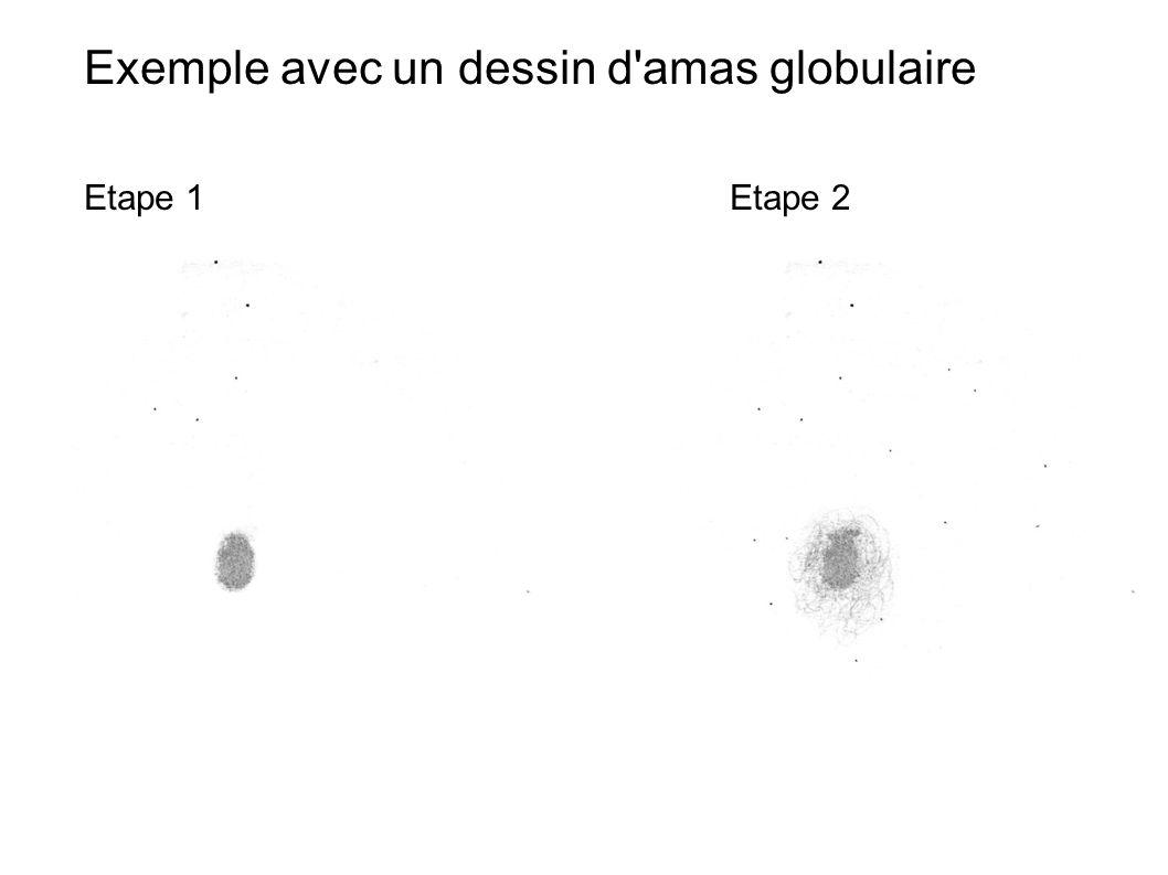 Exemple avec un dessin d'amas globulaire Etape 1Etape 2