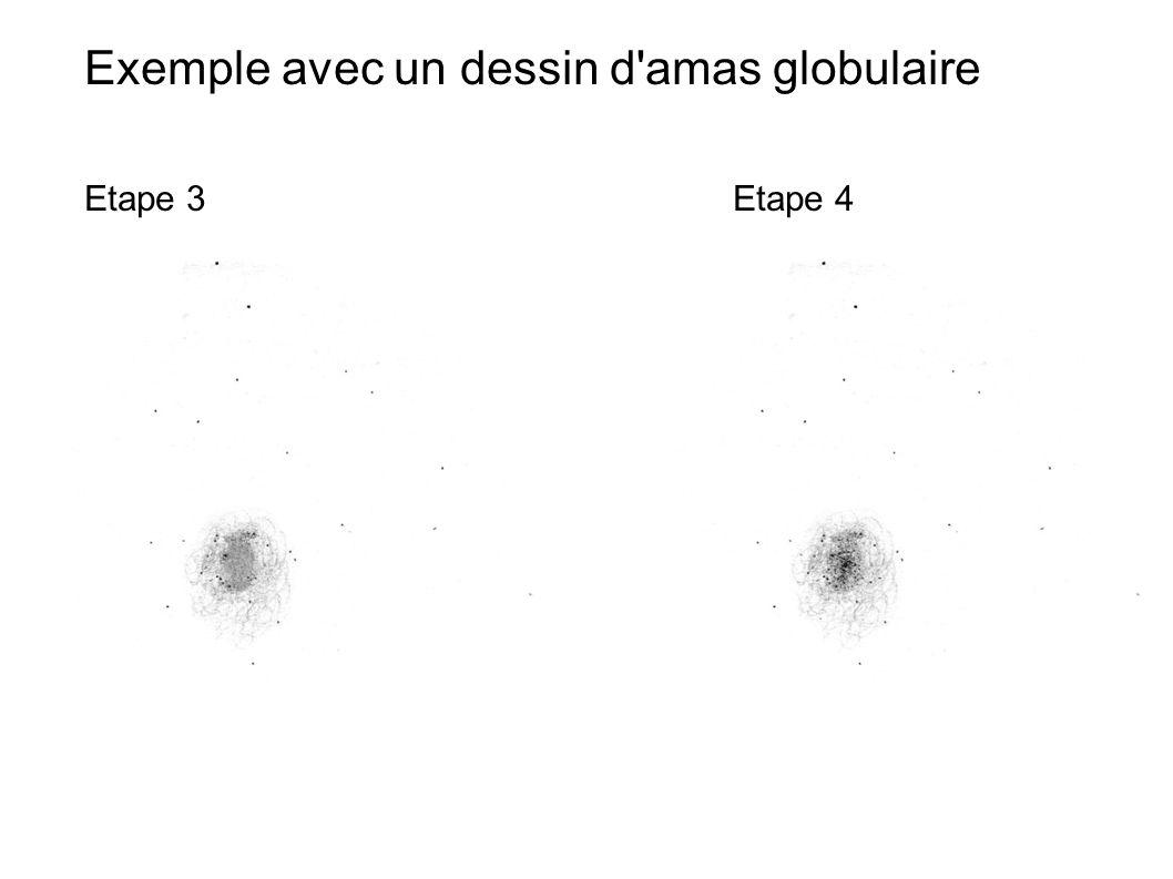 Exemple avec un dessin d'amas globulaire Etape 3Etape 4