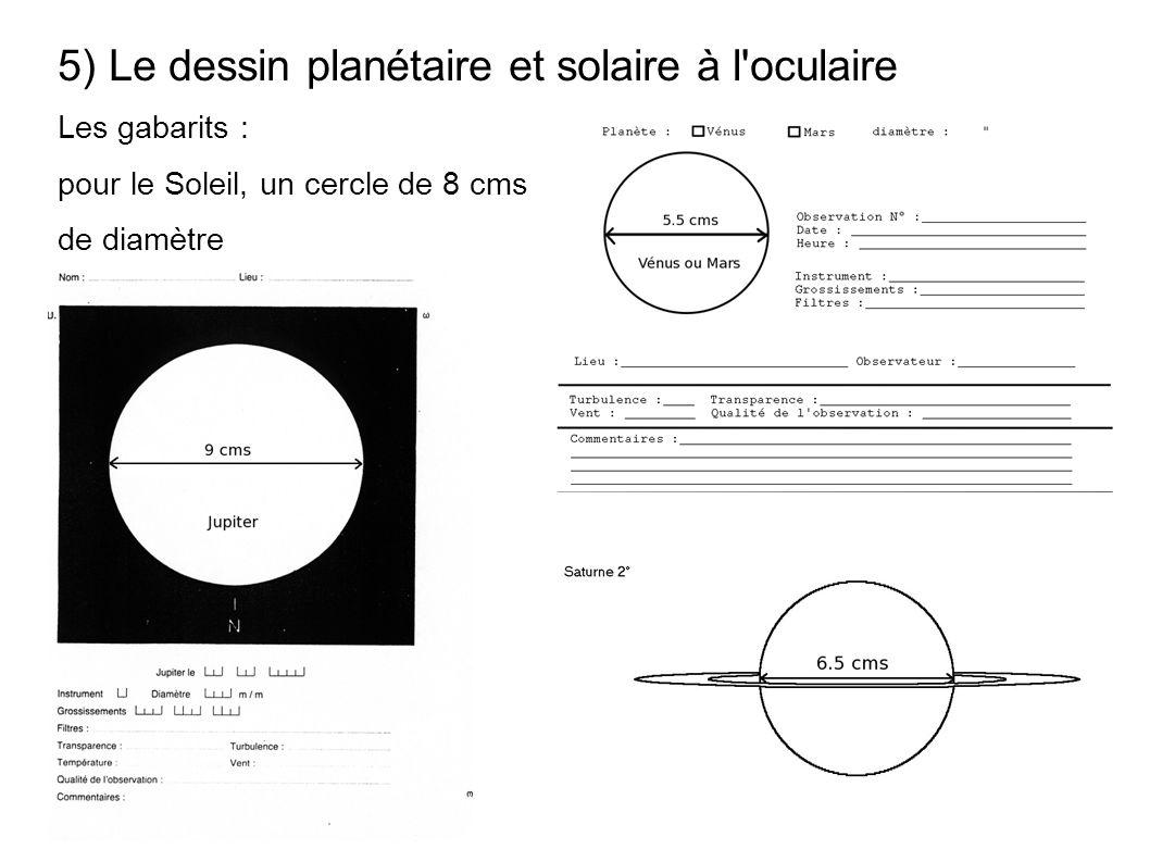 5) Le dessin planétaire et solaire à l'oculaire Les gabarits : pour le Soleil, un cercle de 8 cms de diamètre
