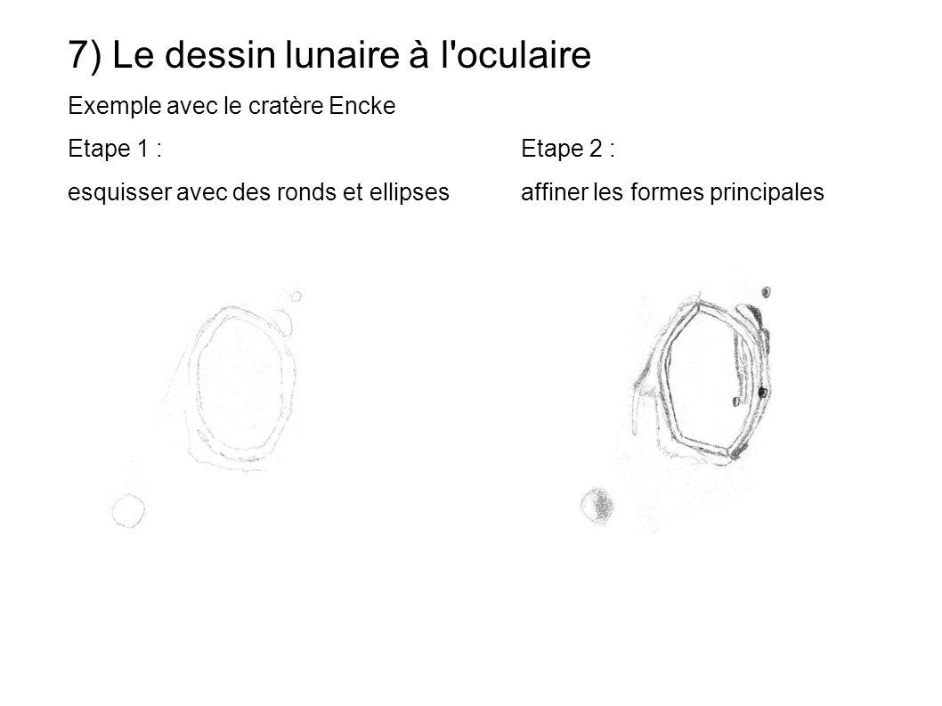 7) Le dessin lunaire à l'oculaire Exemple avec le cratère Encke Etape 1 : Etape 2 : esquisser avec des ronds et ellipsesaffiner les formes principales