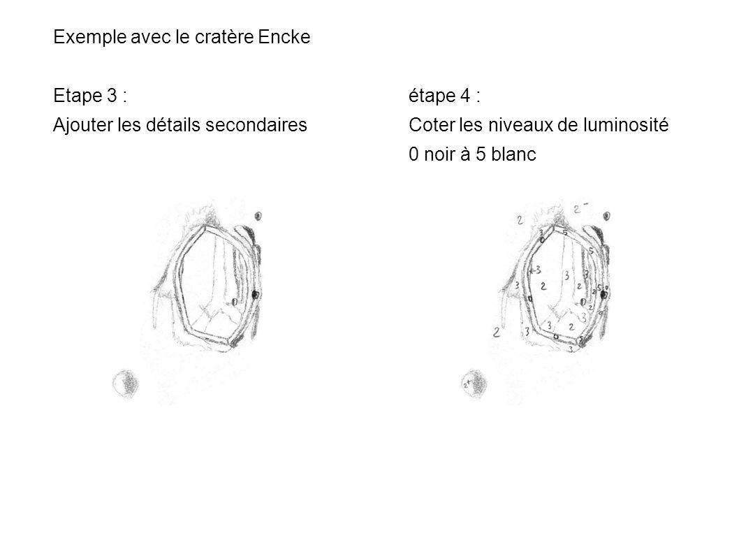 Exemple avec le cratère Encke Etape 3 : étape 4 : Ajouter les détails secondairesCoter les niveaux de luminosité 0 noir à 5 blanc