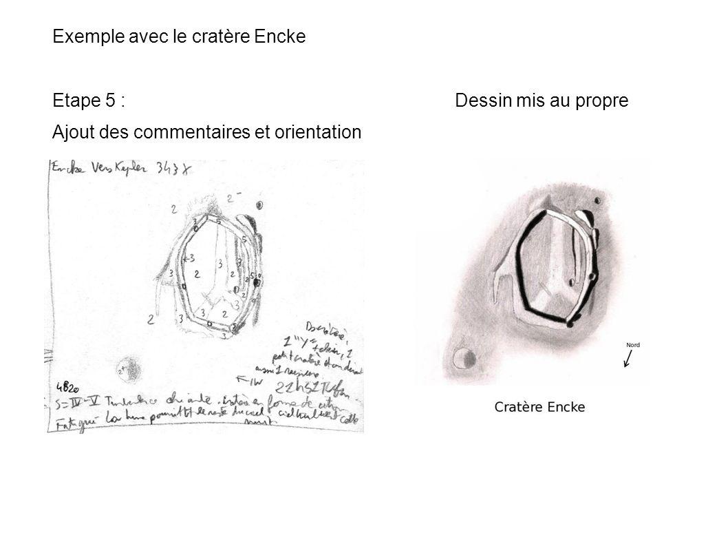 Exemple avec le cratère Encke Etape 5 : Dessin mis au propre Ajout des commentaires et orientation