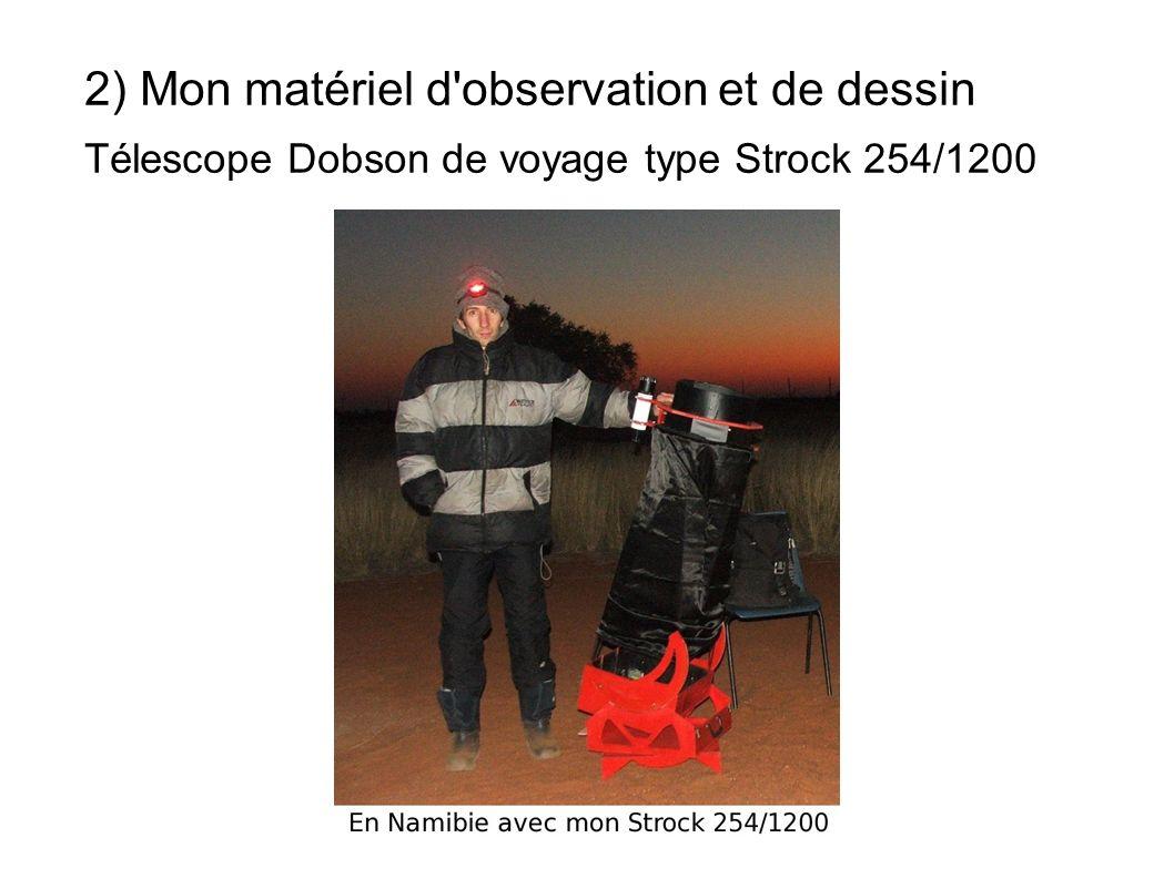 2) Mon matériel d'observation et de dessin Télescope Dobson de voyage type Strock 254/1200