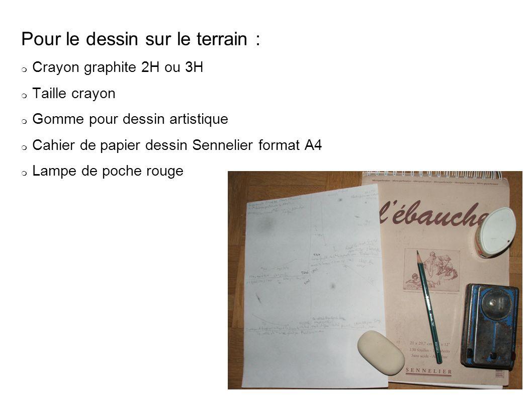 Pour le dessin sur le terrain : Crayon graphite 2H ou 3H Taille crayon Gomme pour dessin artistique Cahier de papier dessin Sennelier format A4 Lampe