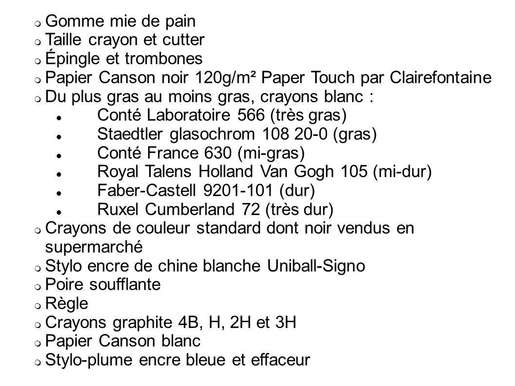 Gomme mie de pain Taille crayon et cutter Épingle et trombones Papier Canson noir 120g/m² Paper Touch par Clairefontaine Du plus gras au moins gras, c