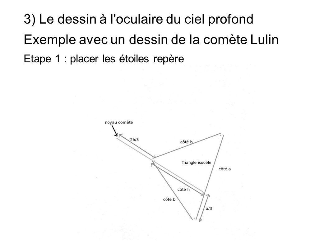 3) Le dessin à l'oculaire du ciel profond Exemple avec un dessin de la comète Lulin Etape 1 : placer les étoiles repère