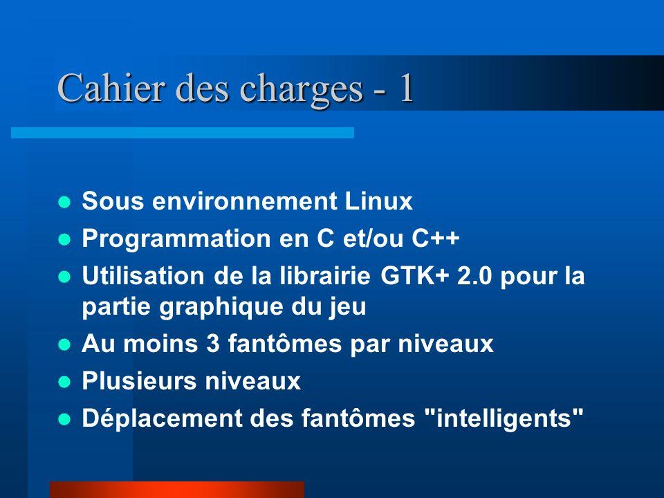 Cahier des charges - 1 Sous environnement Linux Programmation en C et/ou C++ Utilisation de la librairie GTK+ 2.0 pour la partie graphique du jeu Au m