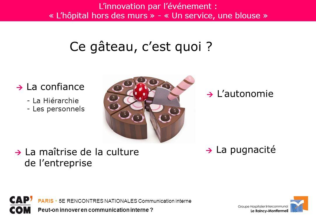 PARIS 5E RENCONTRES NATIONALES Communication interne Peut-on innover en communication interne ? Ce gâteau, cest quoi ? La confiance - La Hiérarchie -