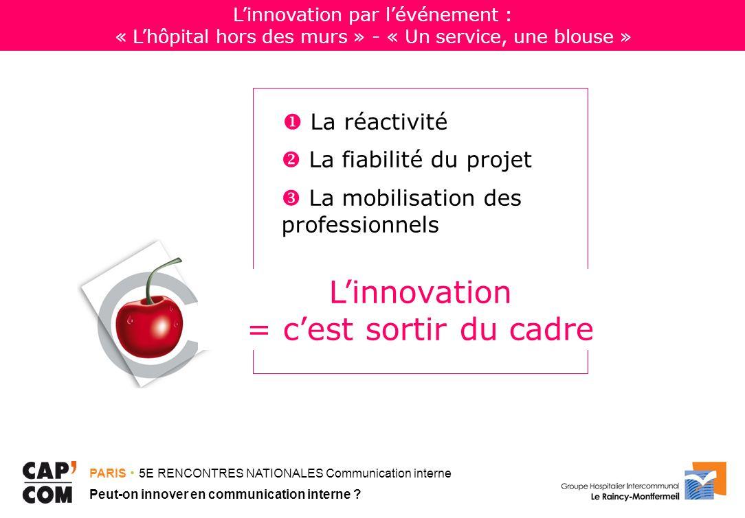PARIS 5E RENCONTRES NATIONALES Communication interne Peut-on innover en communication interne ? La réactivité La fiabilité du projet La mobilisation d