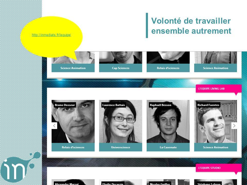 Volonté de travailler ensemble autrement http://inmediats.fr/lequipe/
