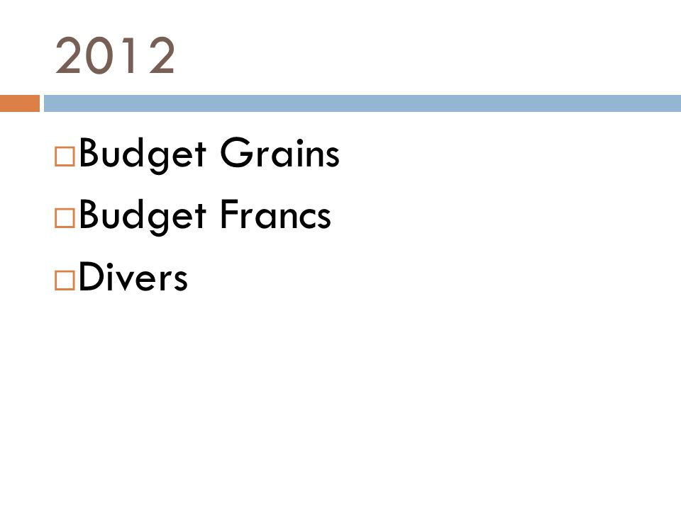 2012 Budget Grains Budget Francs Divers