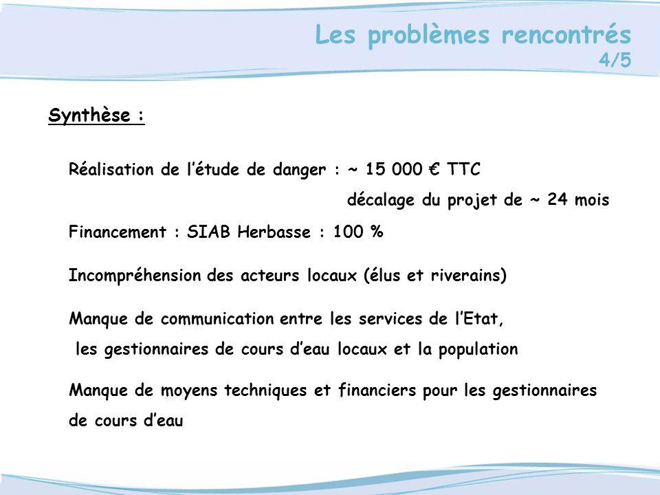 Les problèmes rencontrés 4/5 Synthèse : Réalisation de létude de danger : ~ 15 000 TTC décalage du projet de ~ 24 mois Financement : SIAB Herbasse : 1