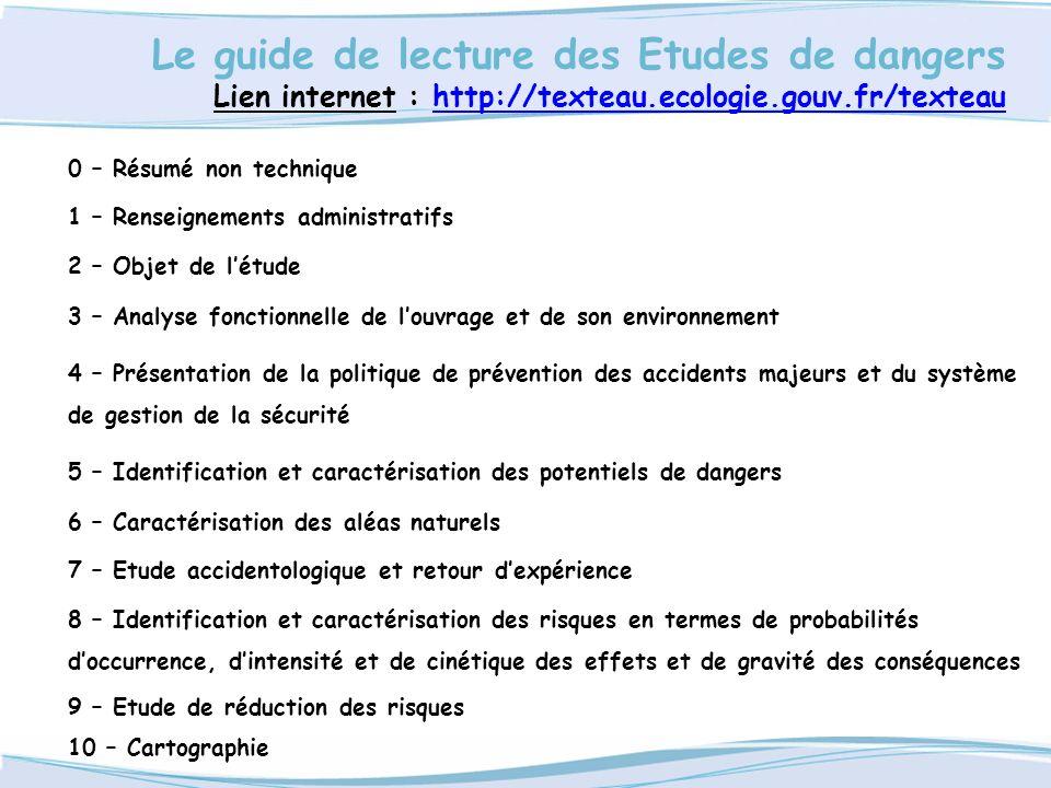 Le guide de lecture des Etudes de dangers Lien internet : http://texteau.ecologie.gouv.fr/texteauhttp://texteau.ecologie.gouv.fr/texteau 0 – Résumé no