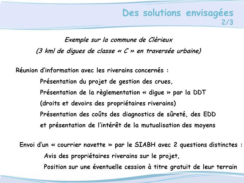 Des solutions envisagées 2/3 Exemple sur la commune de Clèrieux (3 kml de digues de classe « C » en traversée urbaine) Réunion dinformation avec les r