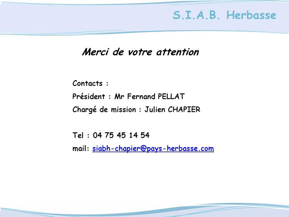 S.I.A.B. Herbasse Merci de votre attention Contacts : Président : Mr Fernand PELLAT Chargé de mission : Julien CHAPIER Tel : 04 75 45 14 54 mail: siab