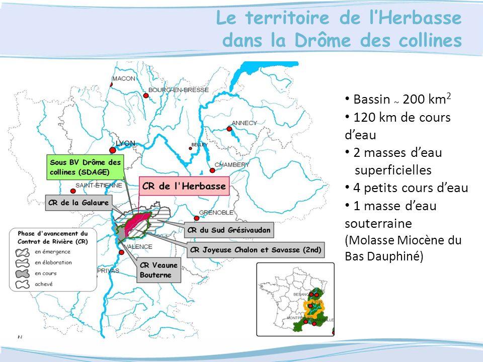 Le territoire de lHerbasse dans la Drôme des collines Bassin ~ 200 km 2 120 km de cours deau 2 masses deau superficielles 4 petits cours deau 1 masse